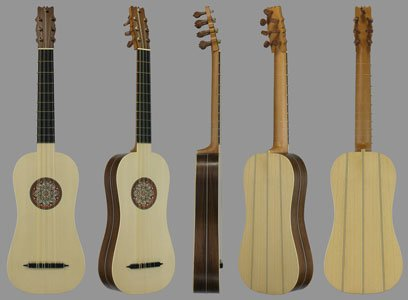 4-course flat-back Renaissance guitar